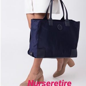 Tory Burch Packable Navy Blue Large Ella Tote